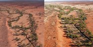 Dry (2006 left) to dry (2015 right) but now free from stock, condition returns to the Mulligan River and tributaries in the central north of Cravens.  From the air at least the grasses appear to be native species. <br/>This area to be ground checked for buffel over time. This section was always at least 4km from artificial waters on Cravens Peak or next door.