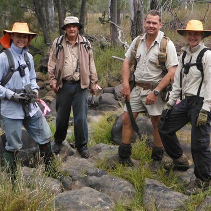 Reserve Manager Paul Hales with volunteer Siam weeders at Yourka Reserve, Qld.