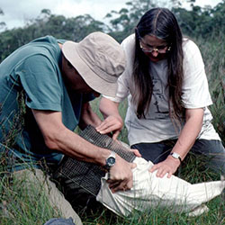 Jenny and John Barnett with a native animal captured during a fauna survey.