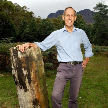 Senator Bob Brown in the Liffey Valley. Photo Peter Morris.