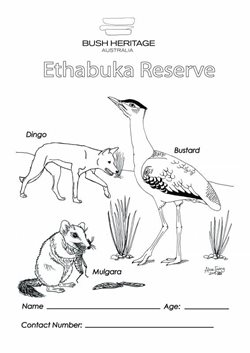 Colouring in sheet for Ethabuka Reserve.