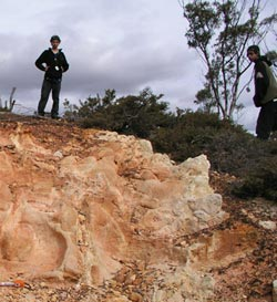 Noongar students at a site where stone tools were found. Photo Joe Dortch.