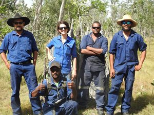 Olkola Land Mangers Brendan Ross, Hamish Kulka, Ashley Ross and Glen Kulka, with Allana Brown, Bush Heritage Healthy Landscape Manager and Ecologist.